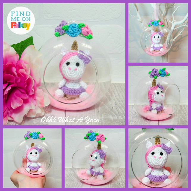 Crochet unicorn in a glass bauble. Ornament.  Hanging decoration.