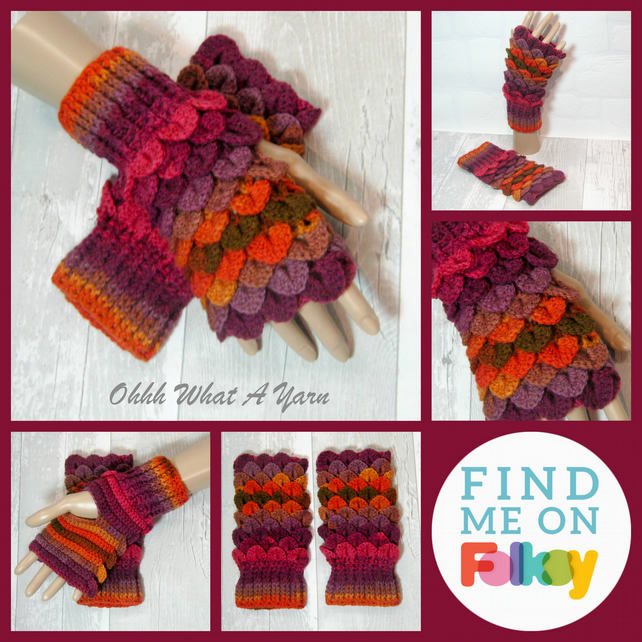 Autumn shades dragon scale gloves. Fingerless gloves. Crocodile stitch.