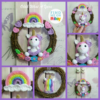 Crochet unicorn, rainbow and floral wreath. Mixed media decorative wreath.