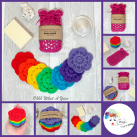 Cotton rainbow scrubbies and soap saver, soap pouch set. Face wipes  Soap sock.