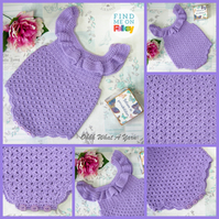 Lilac ruffle crochet baby romper. Ruffled romper.  Age 0-6 months