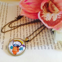 Personalised Gift Custom Round Bronze Pendant of Your Children's Drawings
