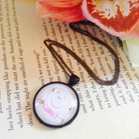 Personalised Gift Custom Round Black Pendant of Your Children's Drawings