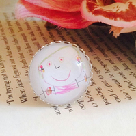 Personalised Gift Custom Round Silver Cocktail Ring of Your Children's Drawings