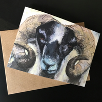 Greeting Card Landscape - Scottish Ram