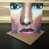 Greeting Card Square - Female Portrait