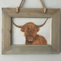 Rustic Wooden Hanging Framed Highland Cow print