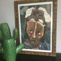A3 Tribal Portrait Print with Handmade Reclaimed Wood Frame