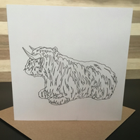 Greeting Card Square Scottish Highland Cow (relaxing)