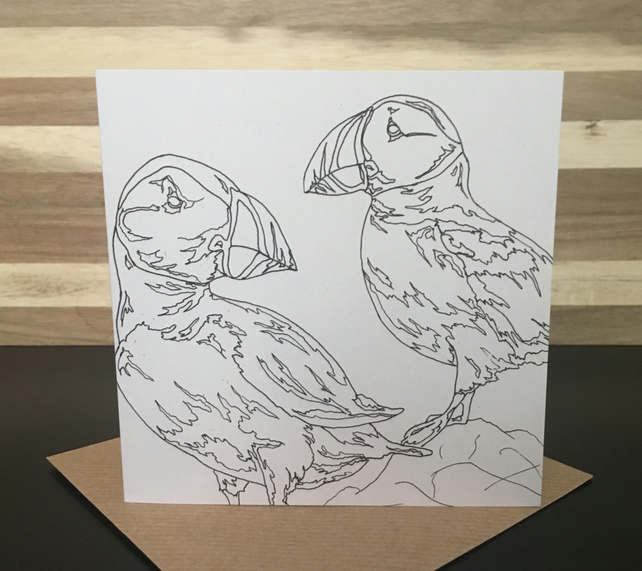 Greeting Card Square - Puffins