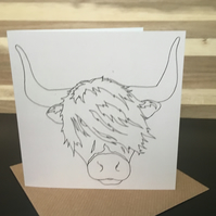 Greeting Card Square - Highland Cow Head, Scottish Coo