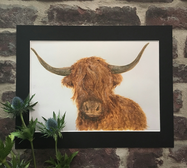 A4 Giclee Print - Scottish Highland Coo, Cow with Black Mount