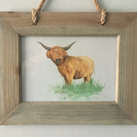 Hanging Wooden Frame, Rustic - Highland Coo, Cow, Scottish
