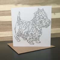 Greeting Card Westie Dog, West Highland Terrier, Scottish