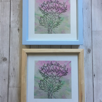 Framed Print (Pale Blue), Scottish Thistle, Watercolour and Ink, 8x8 Print