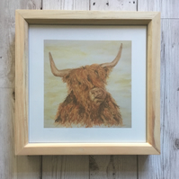 Framed Print, Pine, Scottish Highland Cow, Coo, 8x8 Print, Box Frame