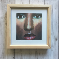 Framed Print, Pine, Female Portrait, 8x8 Giclee Print, Box Frame