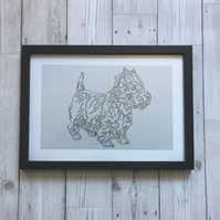 Framed Print, A4, Black Frame, West Highland Terrier, Westie Dog