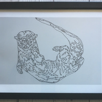 Framed A4 Print, Otter, Swimming, Black Frame