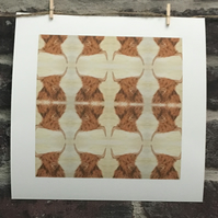 8x8 Print, Scottish Highland Cow, Coo, Repeat Pattern, Unframed