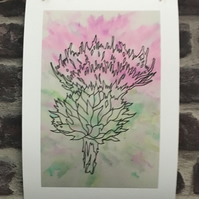 A4 Print, Scottish Thistle, Watercolour and Ink Design, Giclee Print, Unframed