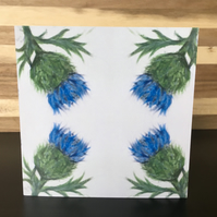 Greeting Card, Square, Scottish Thistle, Repeat Partern, Blank Card