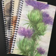 A5 Spiral Notebook, Notepad, Scottish Thistle