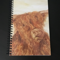 A5 Spiral Notebook, Notepad, Scottish, Highland Cow, Coo
