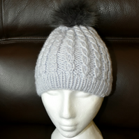 Toddlers Grey Faux Fur Bobble Hat