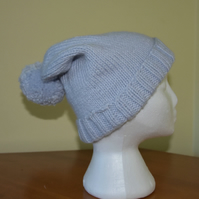 Unisex Silver Grey Slouchy Bobble Hat
