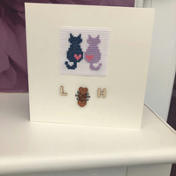 Personalised Cats Engagement Cross Stitch Card