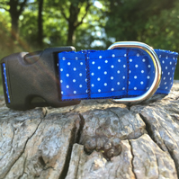 Satin Polka Dot Side Release Collar - Blue
