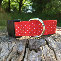 Satin Polka Dot Side Release Collar - Red