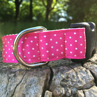 Satin Polka Dot Side Release Collar - Pink