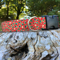 Christmas Holly Side Release Collar - Red