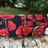 Large Poppies Half Martingale Collar - Black: Medium 25-45cm