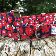 Small Poppies Half Martingale Collar - Navy: Medium 25-45cm