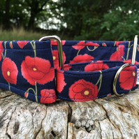 Large Poppies Half Martingale Collar - Navy: Medium 25-45cm