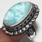 Larimar Gemstone 925 Sterling Silver Oxidized Unisex Ring