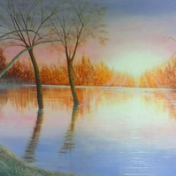 Prints of Original painting Sunset flooded loch - calm after the storm