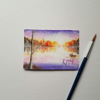 "Original Acrylic Painting ACEO 2.5"" x 3.5"" Sunset flooded Loch Calm after storm"