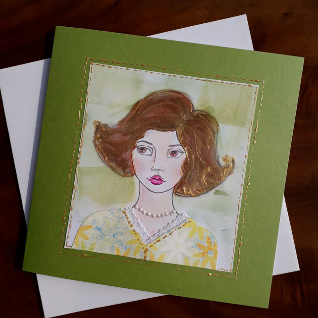 Hand made card of a 1950's lady