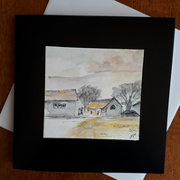 old barns pen and ink