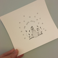 My Little Star (ma petite etoile) -  hand drawn illustration