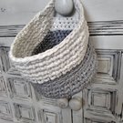 Crochet storage basket with handle - Hooked ribbon xl yarn - two colours