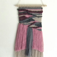 Pink & Grey Layered Woven Wall Hanging, Wall Art Home Decor