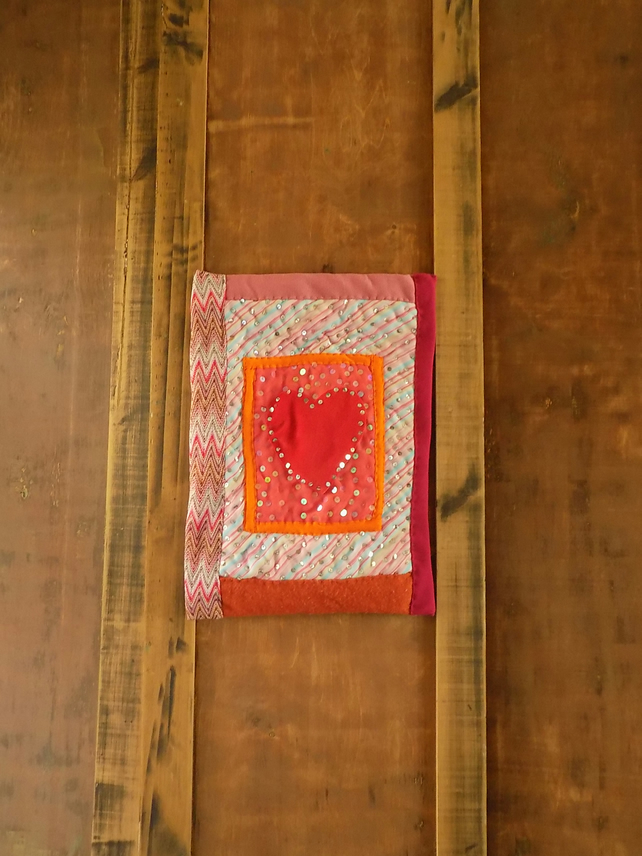 A3 TEXTILE ART - LOVE HEARTS