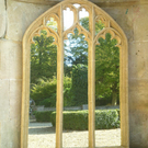 HUGE LONG TRACIERED TRIPLE LIGHT WINDOW GARDEN MIRROR