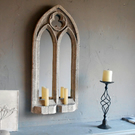 FANTASTIC SMALL DOUBLE LIGHT GOTHIC SCONCE MIRROR