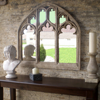Large fabulous gothic church window arched overmantel